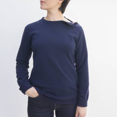 PULL COL BOUTONNE